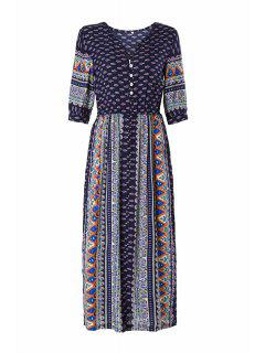 Half Sleeve High Slit Tribal Pattern Midi Dress - Purplish Blue Xl