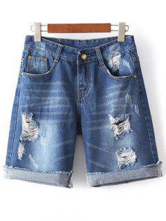 Ripped High Waisted Denim Shorts - Denim Blue S