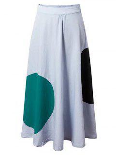 Polka Dot High Waisted Long Skirt - Light Blue S