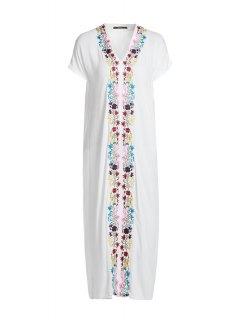 Embroidery Kaftan - White L