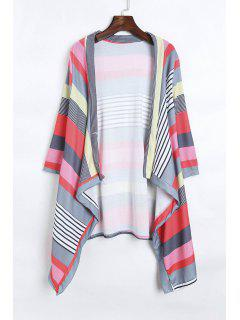 Open Front 3/4 Sleeve Striped Thin Coat - Red L