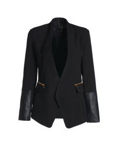 Shawl Collar Faux Leather Splicing Blazer - Black L