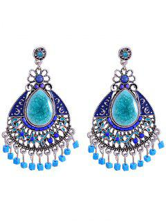 Tribal Resin Chandelier Dangle Earrings - Blue