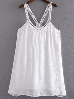 Floral Bordado Vestido De Tirantes Cami - Blanco S