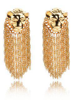 Leopard Head Fringe Tassel Earrings - Golden