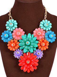 Tropical Flower Bib Statement Necklace - Golden