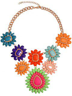 Tropical Candy Color Flower Bib Necklace - Golden