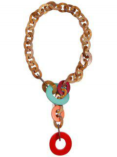 Round Link Chunky Statement Necklace - Red