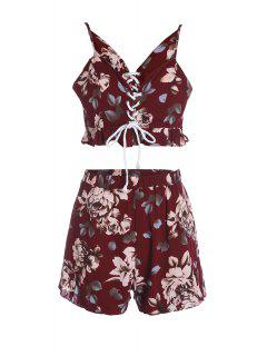 Spaghetti Straps Crop Top And Print Shorts Twinset - Dark Red S