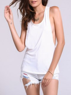 Dropped Armhole Tank Top - White S