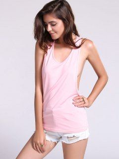Dropped Armhole Tank Top - Pink M