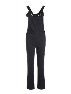 Solid Color Adjustable Straps Pockets Overalls - Black M