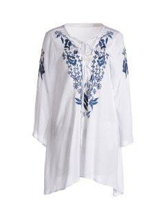 Bell Sleeve Floral Print Voluminous Dress - White L