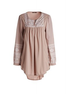 Long Sleeve Irregular Hem Tunic Dress - Camel L