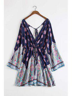 Plunging Neck Vintage Print Dress - Deep Blue L
