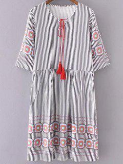 Striped Half Sleeve Dress - White And Black S
