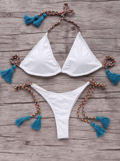 Tassells Braided Strap Bikini Set - Blue M