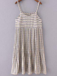 Pleated Plaid Strap Dress - Beige S