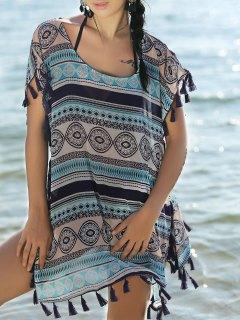 Ethnic Print Short Sleeve Cover Up Dress
