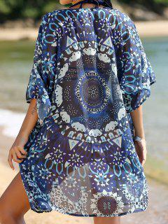 Position Print 3/4 Sleeve Kimono Blouse - Blue S