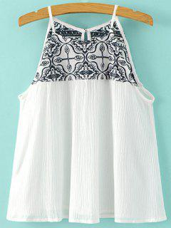 Embroidered Cami Top - White S