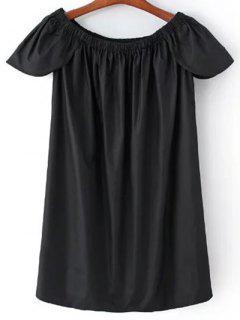Recortar Cuello De Vestir De Manga Pétalo - Negro S