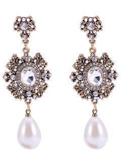 Baroque Faux Pearl Dangle Earrings - Bronze-colored