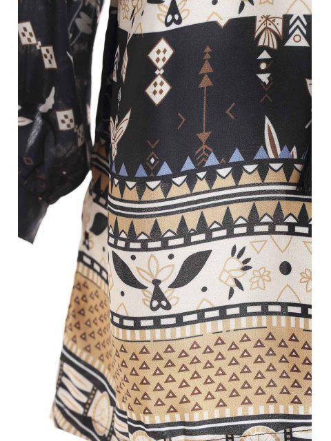 unique Retro Print V Neck Long Sleeves Dress - BLACK L Mobile