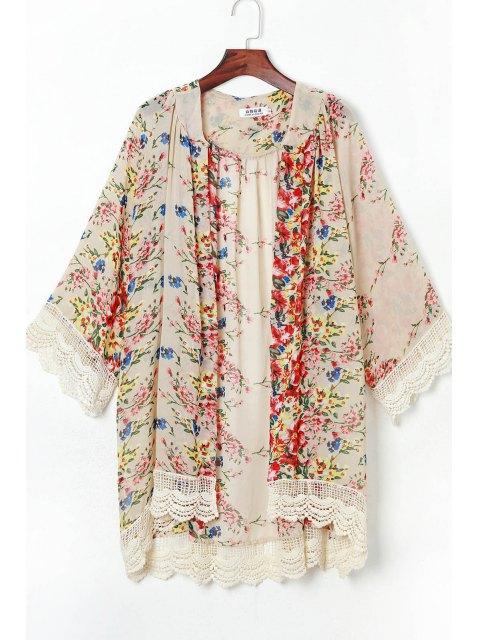 Dentelle à épingles 3/4 manchon Kimono - Multicolore S Mobile