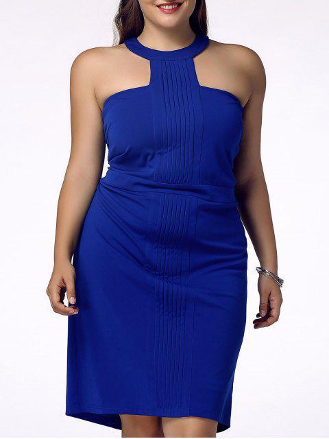 Con estilo más el tamaño de vestido de la envoltura Backless Racerfront para las mujeres - Azul 2XL Mobile
