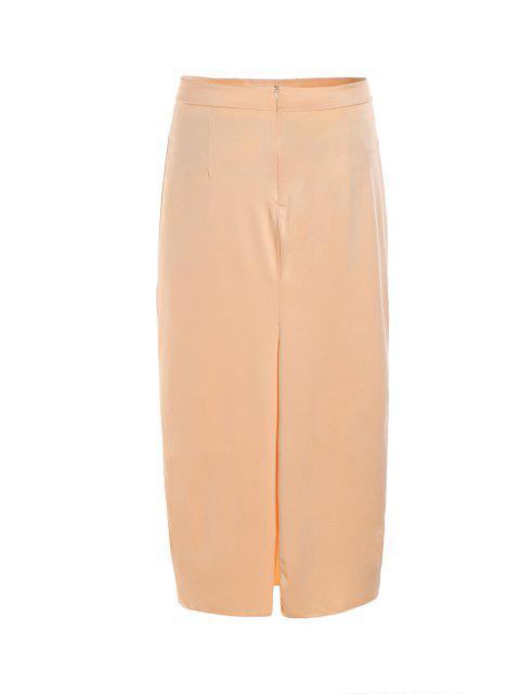 fashion Pure Color High Waisted Bodycon Skirt - BEIGE XL Mobile