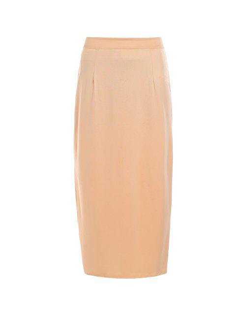 latest Pure Color High Waisted Bodycon Skirt - BEIGE L Mobile