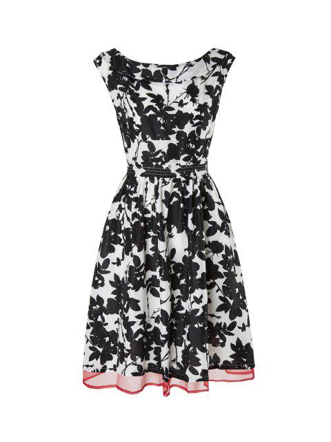 outfits Boat Neck Leaf Print Chiffon Flare Dress - WHITE AND BLACK L Mobile