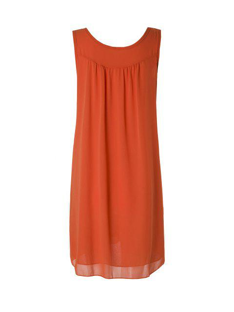 buy Sleeveless Solid Color Sundress - ORANGE M Mobile