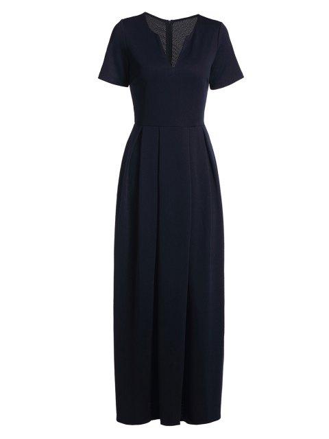 Kurze Ärmel einfarbiges Maxi Kleid - Dunkelblau S Mobile