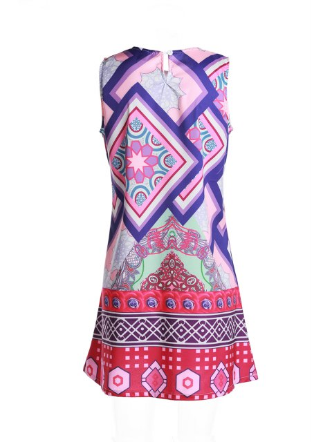 ladies Geometric Print Round Collar Sundress - PURPLE M Mobile