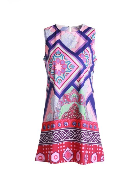women Geometric Print Round Collar Sundress - PURPLE S Mobile