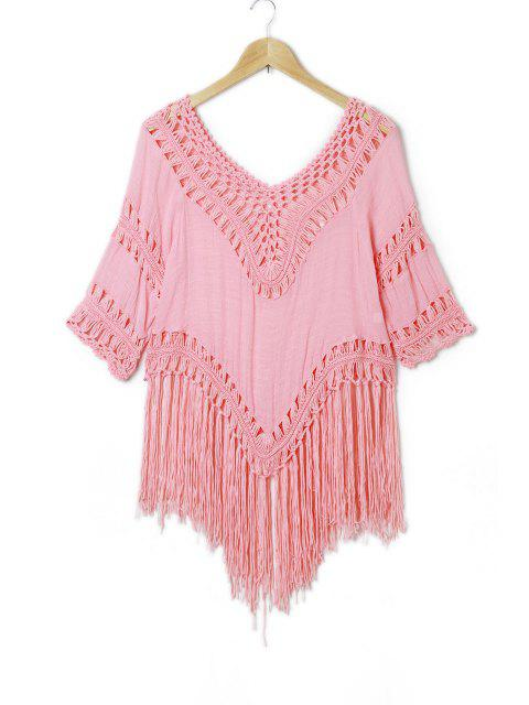 women Tassels Crochet Blouse - PINK L Mobile
