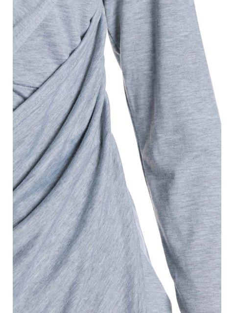 buy Plunging Neck Cross High Split Long Sleeve Dress - LIGHT GRAY L Mobile