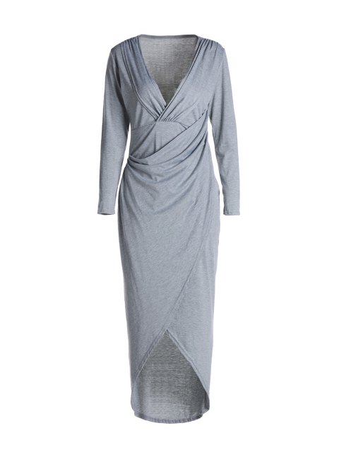 fancy Plunging Neck Cross High Split Long Sleeve Dress - LIGHT GRAY S Mobile