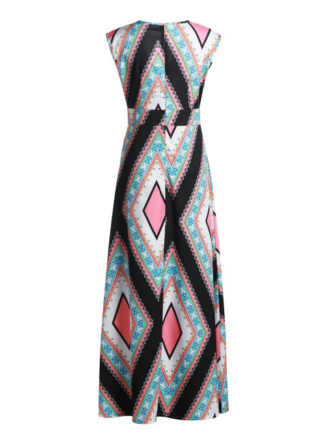 sale Square Collar Argyle Pattern Sleeveless Dress - COLORMIX XL Mobile