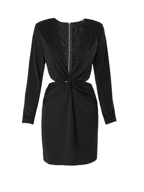 online Long Sleeve Front Twist Cut Out Club Dress - BLACK M Mobile