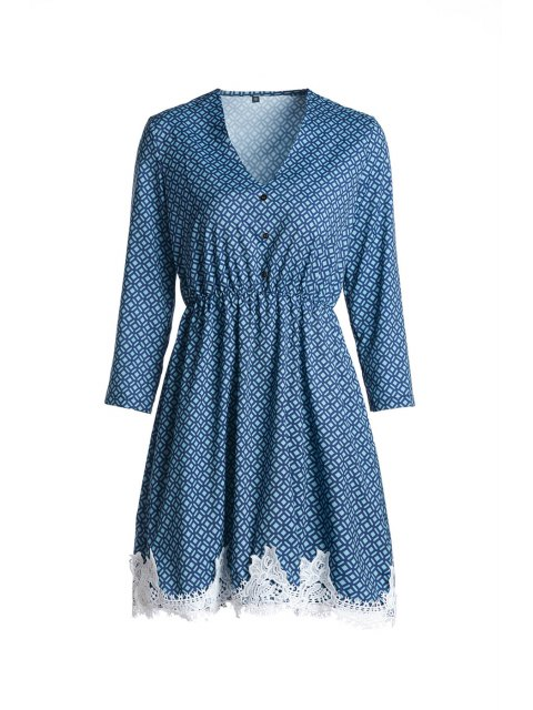 hot Long Sleeve Printed Lace Hem Dress - BLUE XL Mobile
