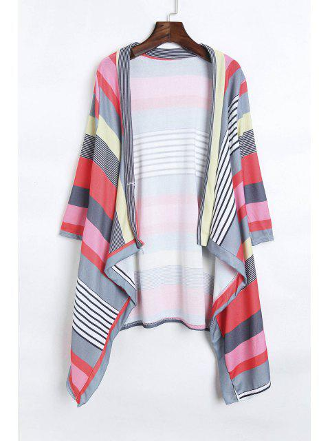 trendy Open Front 3/4 Sleeve Striped Thin Coat - RED L Mobile