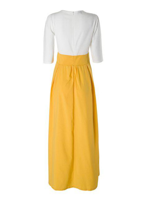 lady Yellow Floral Short Sleeve Maxi Dress - YELLOW S Mobile