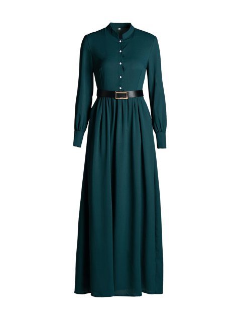 buy Solid Color Single-Breasted Long Sleeve Dress - GREEN S Mobile