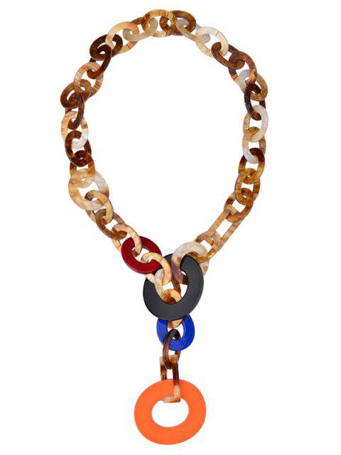 shops Round Link Chunky Statement Necklace - ORANGE  Mobile