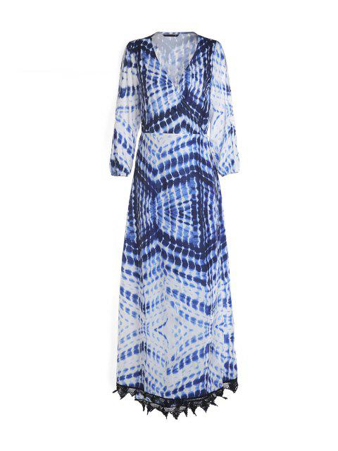 shop Dot and Line Print V Neck 3/4 Sleeve Maxi Dress - BLUE AND WHITE M Mobile