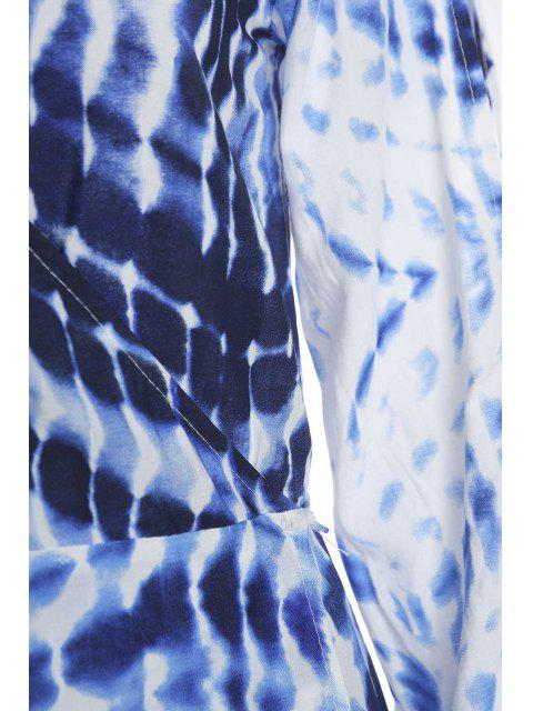outfits Dot and Line Print V Neck 3/4 Sleeve Maxi Dress - BLUE AND WHITE S Mobile