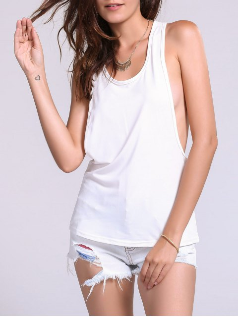 shop Dropped Armhole Tank Top - WHITE S Mobile